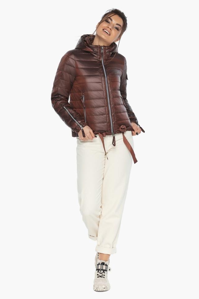 """Практичная куртка женская осенне-весенняя каштановая модель 62574 Braggart """"Angel's Fluff"""" фото 2"""