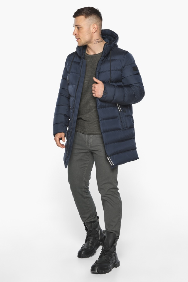 "Зимняя практичная куртка мужская тёмно-синяя модель 49008 Braggart ""Aggressive"" фото 3"