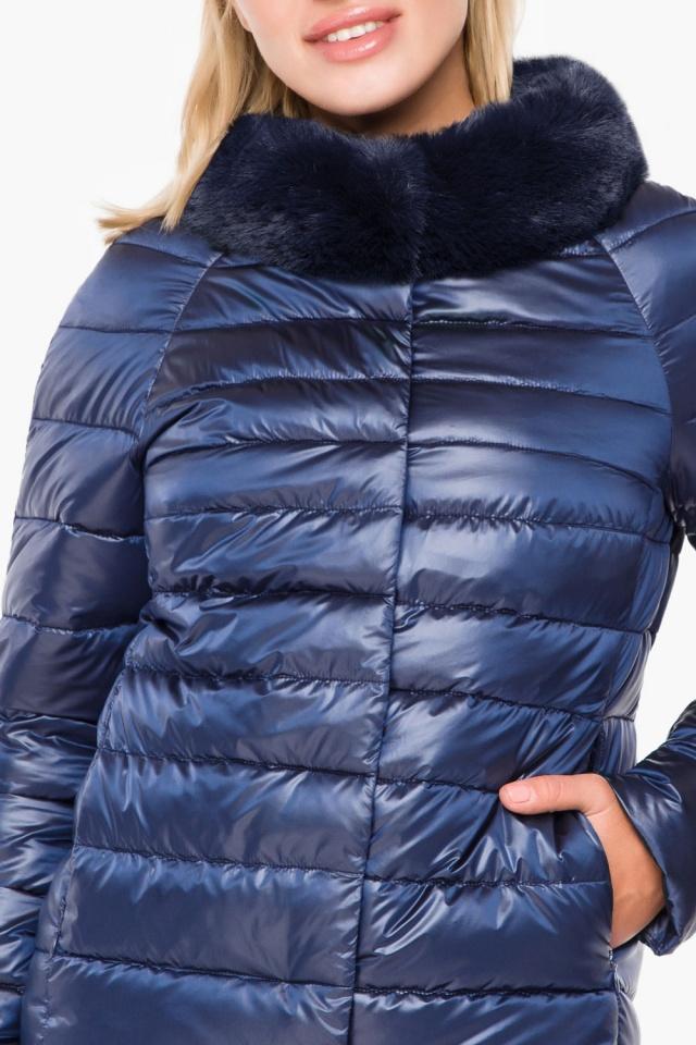 """Женская осенне-весенняя куртка с брендовой фурнитурой сапфировая модель 40267 Braggart """"Angel's Fluff"""" фото 6"""