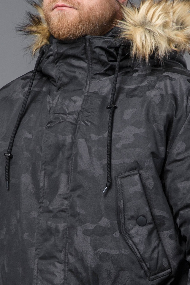 Зимняя дизайнерская парка для мужчин цвет черный модель 72315 Tiger Force фото 6