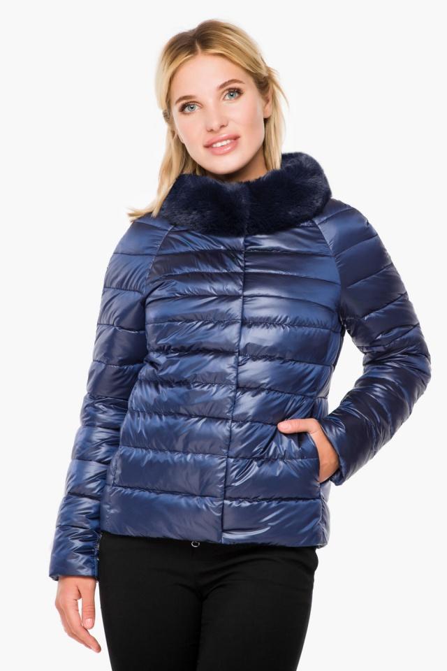 """Женская осенне-весенняя куртка с брендовой фурнитурой сапфировая модель 40267 Braggart """"Angel's Fluff"""" фото 3"""