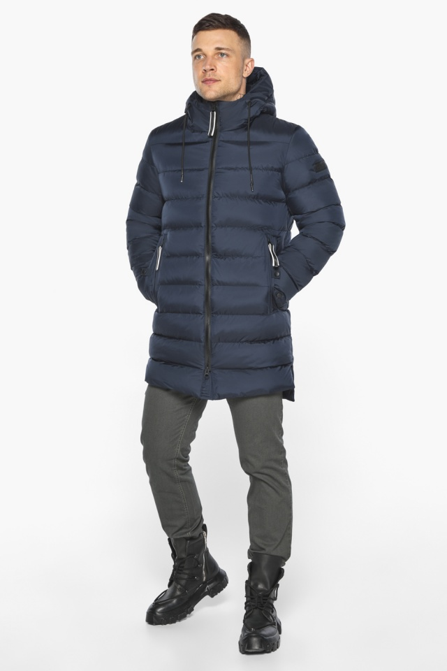 "Зимняя практичная куртка мужская тёмно-синяя модель 49008 Braggart ""Aggressive"" фото 2"