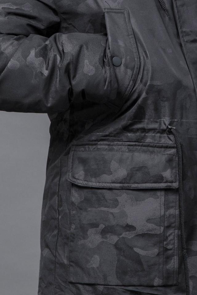 Зимова дизайнерська парка для чоловіків колір чорний модель 72315