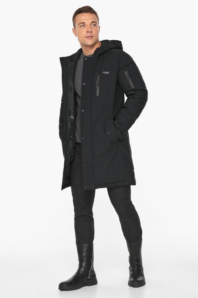 """Парка – воздуховик стильный зимний мужской чёрный модель 38012 Braggart """"Angel's Fluff Man"""" фото 3"""