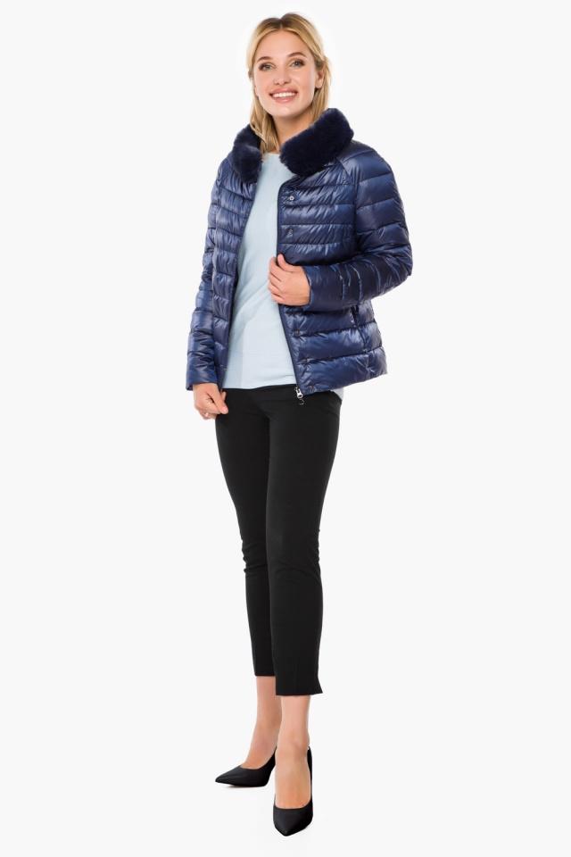 """Женская осенне-весенняя куртка с брендовой фурнитурой сапфировая модель 40267 Braggart """"Angel's Fluff"""" фото 4"""