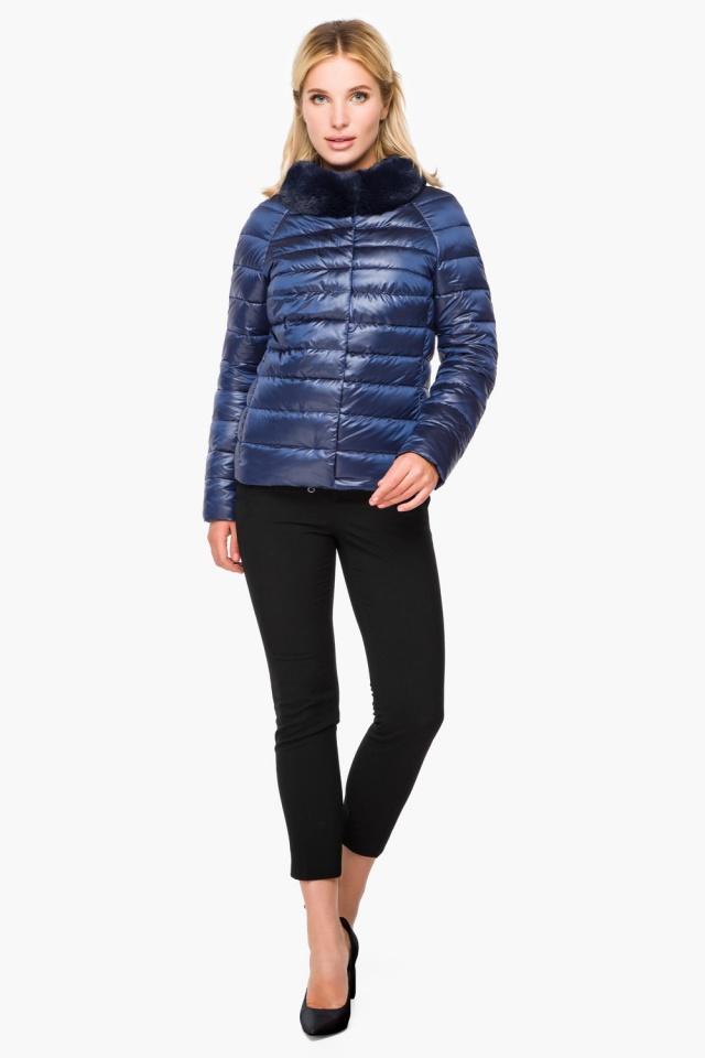 """Женская осенне-весенняя куртка с брендовой фурнитурой сапфировая модель 40267 Braggart """"Angel's Fluff"""" фото 2"""