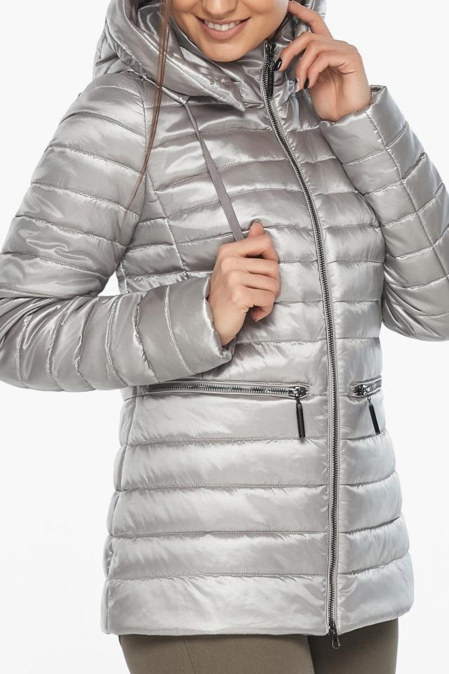 """Люксовая куртка женская осенняя цвет перламутровый светло-серый модель 63045 Braggart """"Angel's Fluff"""" фото 7"""