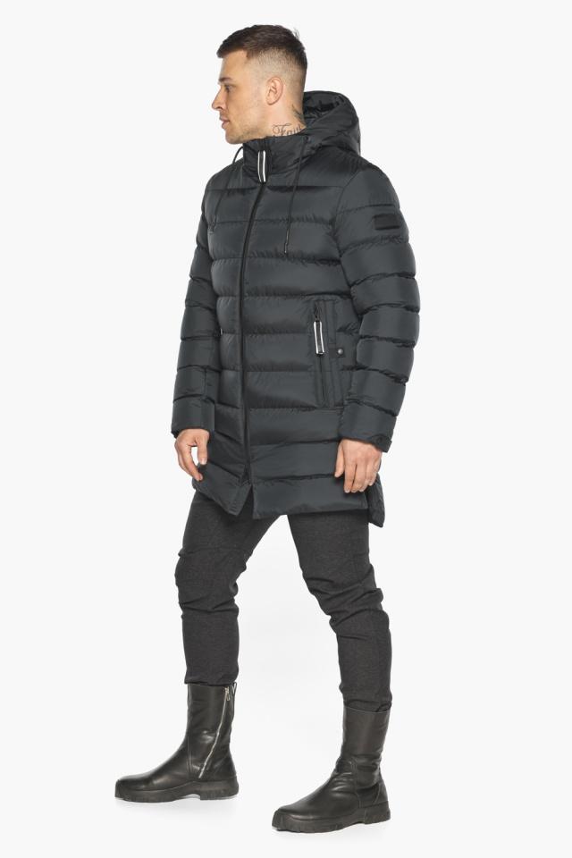"""Практичная мужская куртка зимняя графитовая модель 49008 Braggart """"Aggressive"""" фото 4"""