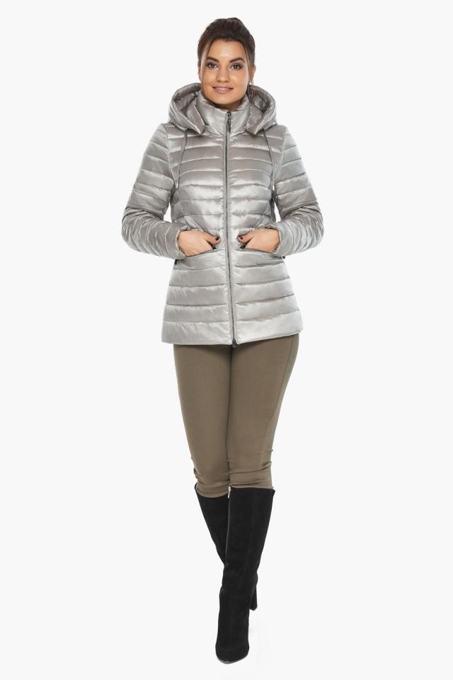 """Люксовая куртка женская осенняя цвет перламутровый светло-серый модель 63045 Braggart """"Angel's Fluff"""" фото 5"""