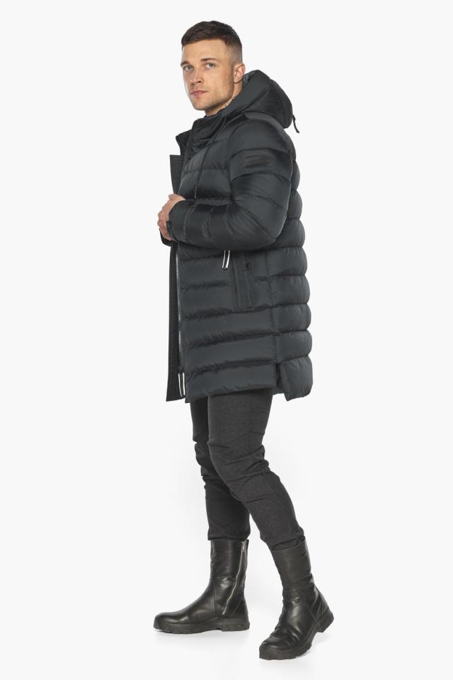 """Практичная мужская куртка зимняя графитовая модель 49008 Braggart """"Aggressive"""" фото 6"""