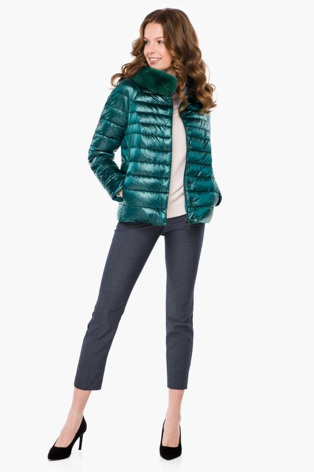 """Трендовая изумрудная осенне-весенняя куртка женская модель 40267 Braggart """"Angel's Fluff"""" фото 4"""