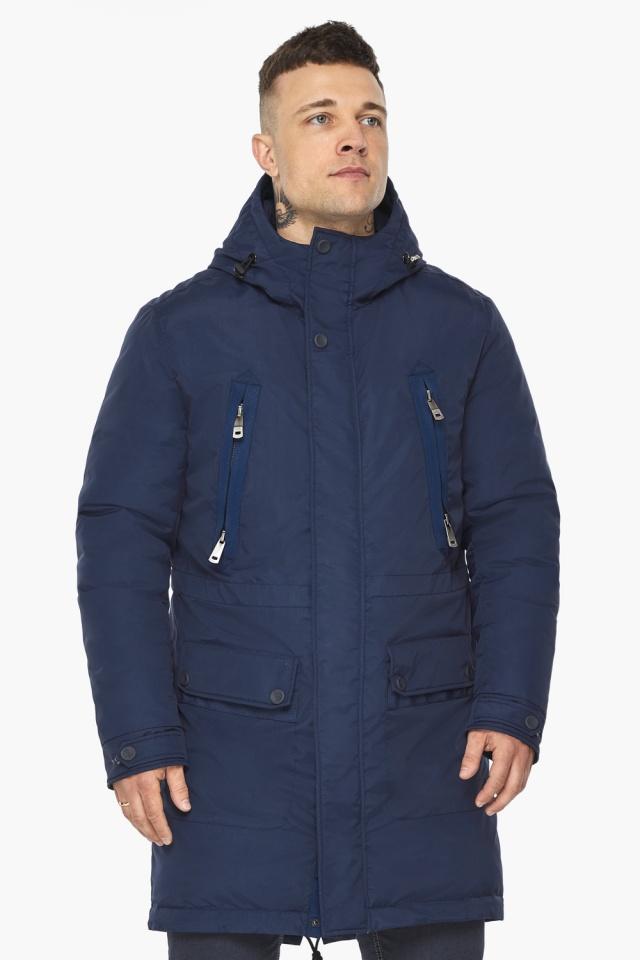 """Куртка – воздуховик мужской тёмно-синий стильный зимний модель 30444 Braggart """"Angel's Fluff Man"""" фото 4"""