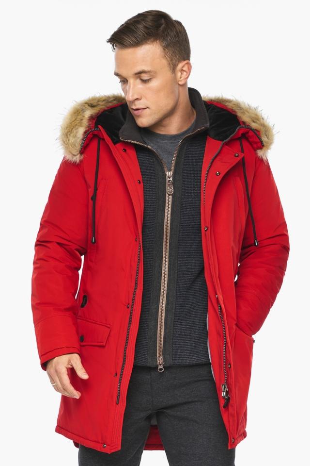 """Парка – воздуховик трендовый красный зимний мужской модель 45062 Braggart """"Angel's Fluff Man"""" фото 6"""