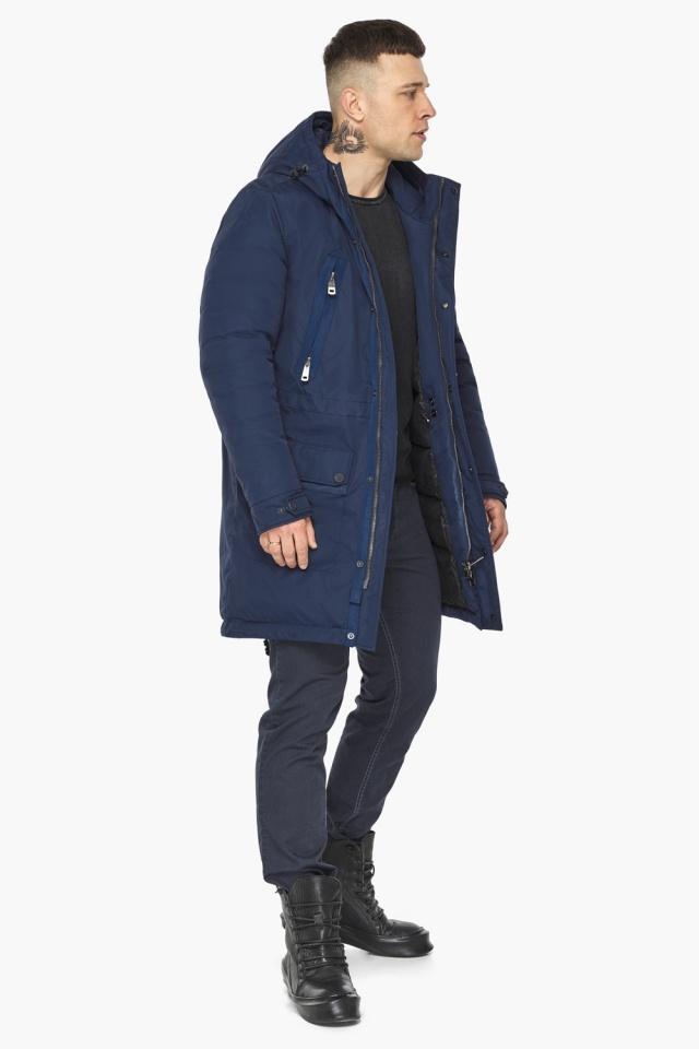 """Куртка – воздуховик мужской тёмно-синий стильный зимний модель 30444 Braggart """"Angel's Fluff Man"""" фото 3"""