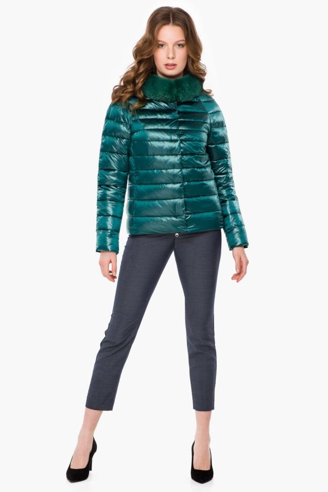 """Трендовая изумрудная осенне-весенняя куртка женская модель 40267 Braggart """"Angel's Fluff"""" фото 2"""
