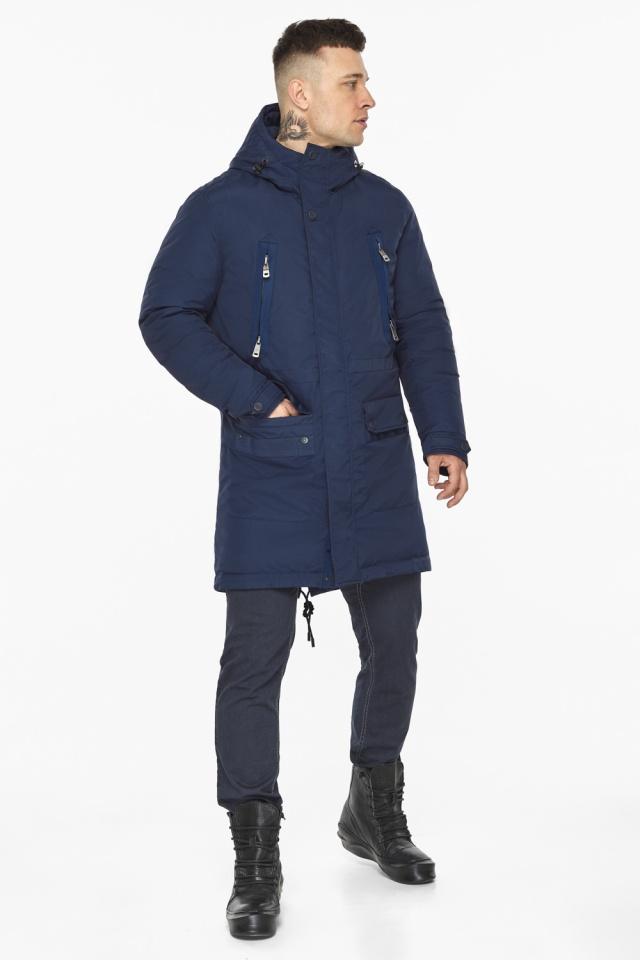 """Куртка – воздуховик мужской тёмно-синий стильный зимний модель 30444 Braggart """"Angel's Fluff Man"""" фото 5"""