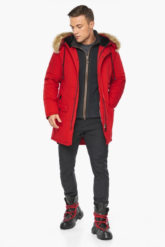 """Парка – воздуховик трендовый красный зимний мужской модель 45062 Braggart """"Angel's Fluff Man"""" фото 2"""