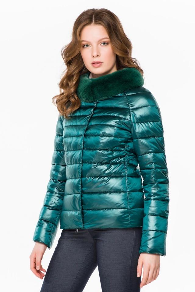 """Трендовая изумрудная осенне-весенняя куртка женская модель 40267 Braggart """"Angel's Fluff"""" фото 3"""