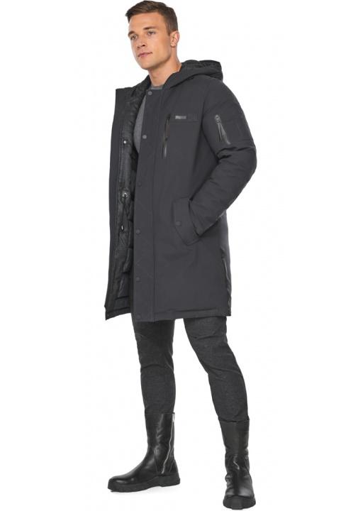 """Куртка – воздуховик кольору графіту чоловічий зимовий модель 38012 Braggart """"Angel's Fluff Man"""" фото 1"""