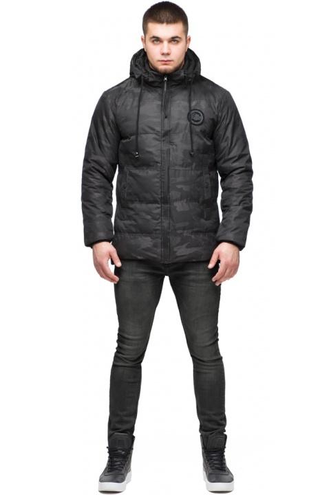 """Чорна куртка коротка чоловіча на зиму модель 25020 Braggart """"Youth"""" фото 1"""