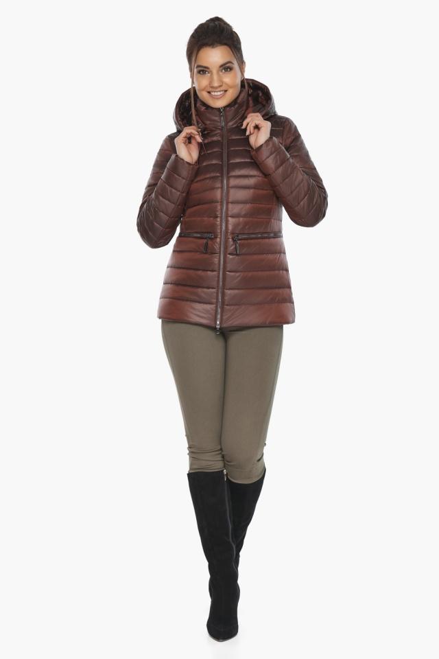 """Куртка элитная каштановая женская осенне-весенняя модель 63045 Braggart """"Angel's Fluff"""" фото 2"""