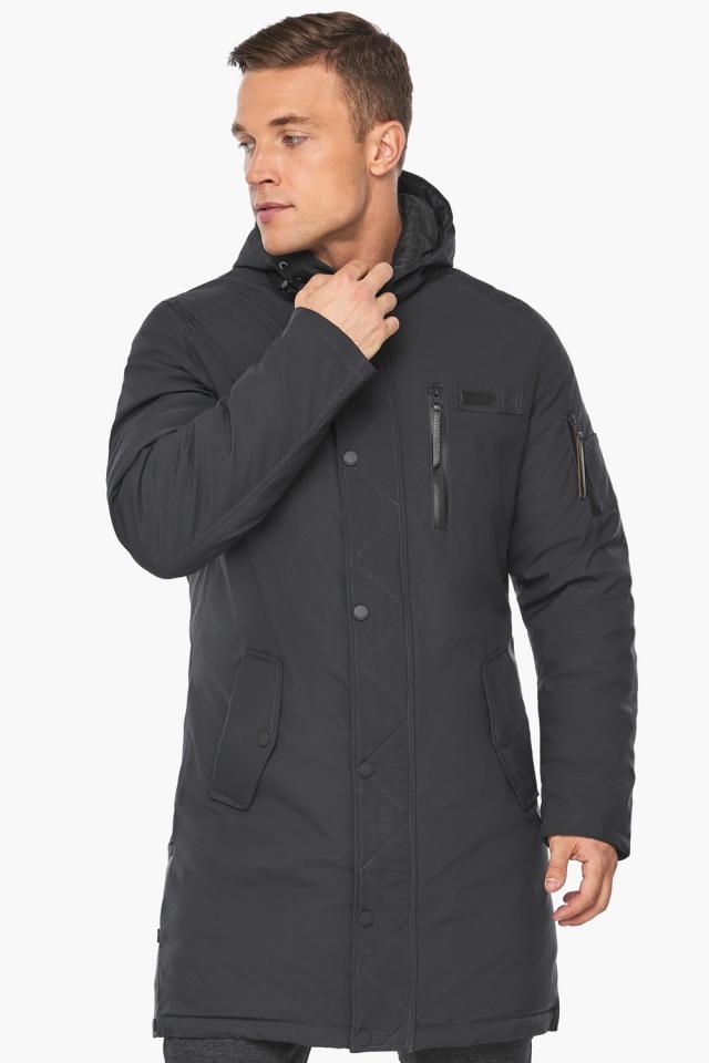 """Куртка – воздуховик цвета графита мужской зимний модель 38012 Braggart """"Angel's Fluff Man"""" фото 3"""