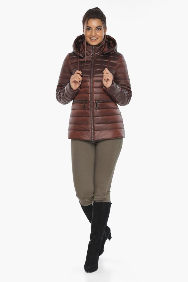 """Куртка элитная каштановая женская осенне-весенняя модель 63045 Braggart """"Angel's Fluff"""" фото 4"""