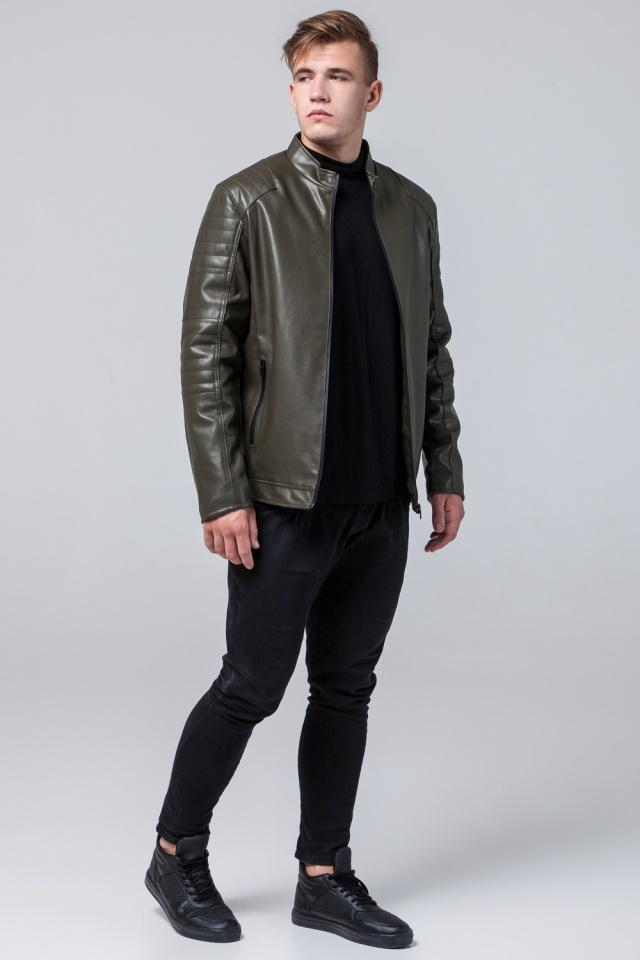"""Подростковая куртка кожанка на осень цвет хаки модель 4327 Braggart """"Youth"""" фото 2"""