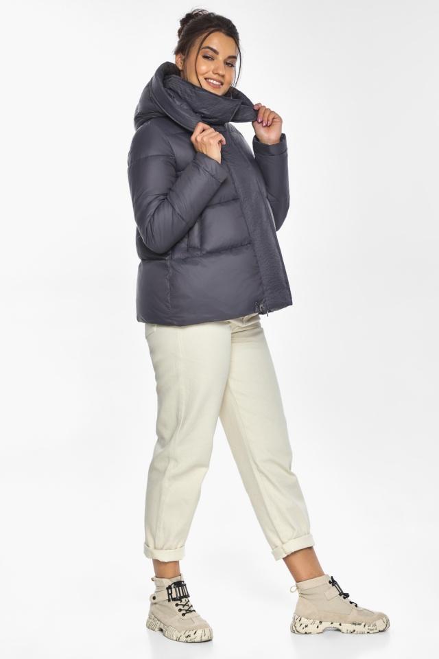 """Жемчужно-серая куртка женская с капюшоном модель 43560 Braggart """"Angel's Fluff"""" фото 6"""