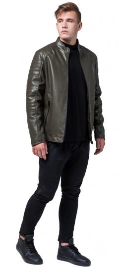 """Подростковая куртка кожанка на осень цвет хаки модель 4327 Braggart """"Youth"""" фото 1"""