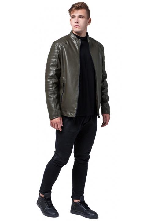 """Підліткова куртка шкірянка на осінь колір хакі модель 4327 Braggart """"Youth"""" фото 1"""