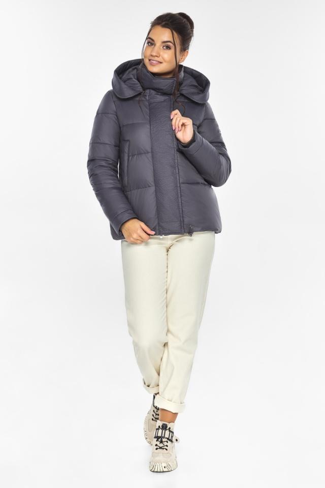 """Жемчужно-серая куртка женская с капюшоном модель 43560 Braggart """"Angel's Fluff"""" фото 2"""