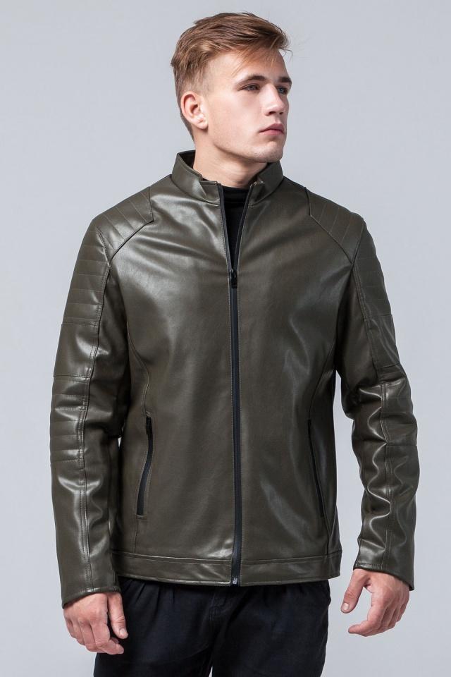 """Подростковая куртка кожанка на осень цвет хаки модель 4327 Braggart """"Youth"""" фото 3"""