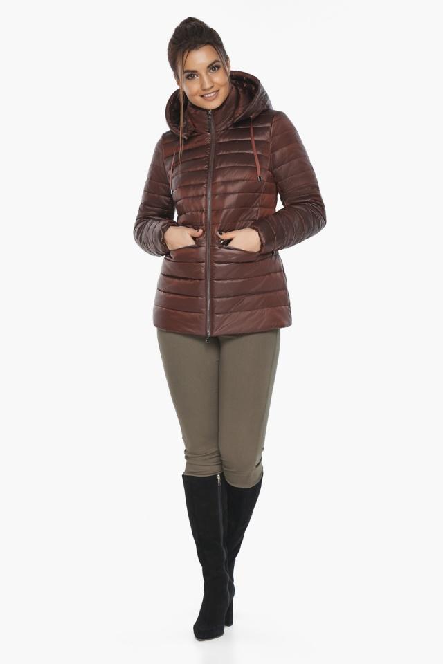 """Куртка элитная каштановая женская осенне-весенняя модель 63045 Braggart """"Angel's Fluff"""" фото 6"""