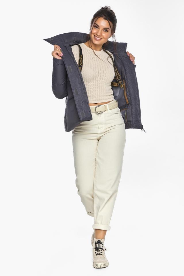 """Жемчужно-серая куртка женская с капюшоном модель 43560 Braggart """"Angel's Fluff"""" фото 4"""