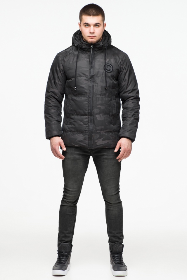 "Черная куртка короткая мужская на зиму модель 25020 Braggart ""Youth"" фото 2"