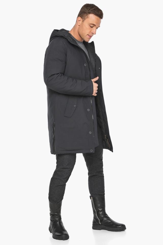 """Куртка – воздуховик цвета графита мужской зимний модель 38012 Braggart """"Angel's Fluff Man"""" фото 4"""