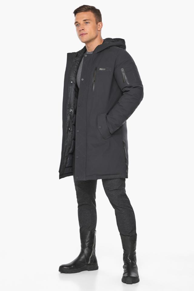 """Куртка – воздуховик цвета графита мужской зимний модель 38012 Braggart """"Angel's Fluff Man"""" фото 2"""