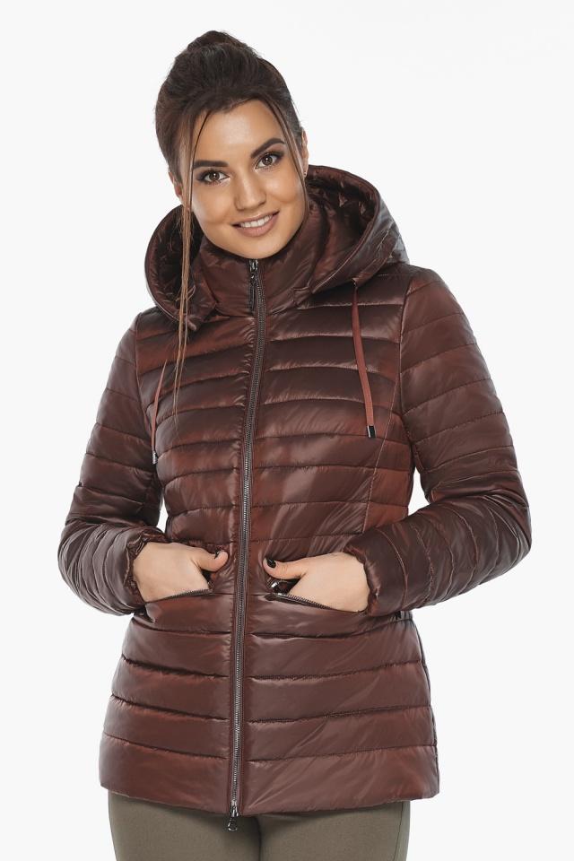 """Куртка элитная каштановая женская осенне-весенняя модель 63045 Braggart """"Angel's Fluff"""" фото 3"""