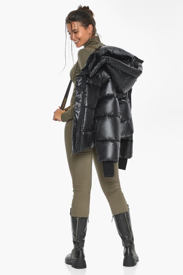 """Черная куртка с высоким воротником женская модель 44210 Braggart """"Angel's Fluff"""" фото 5"""