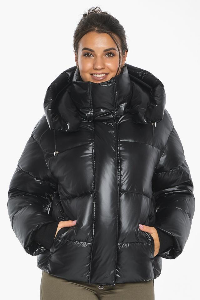 """Черная куртка с высоким воротником женская модель 44210 Braggart """"Angel's Fluff"""" фото 3"""