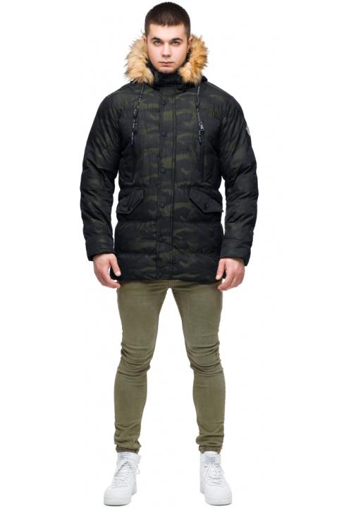 """Зимняя мужская куртка с ветрозащитным клапаном темно-зеленая модель 25450 Braggart """"Youth"""" фото 1"""