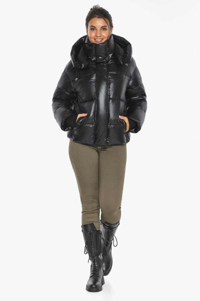 """Черная куртка с высоким воротником женская модель 44210 Braggart """"Angel's Fluff"""" фото 6"""