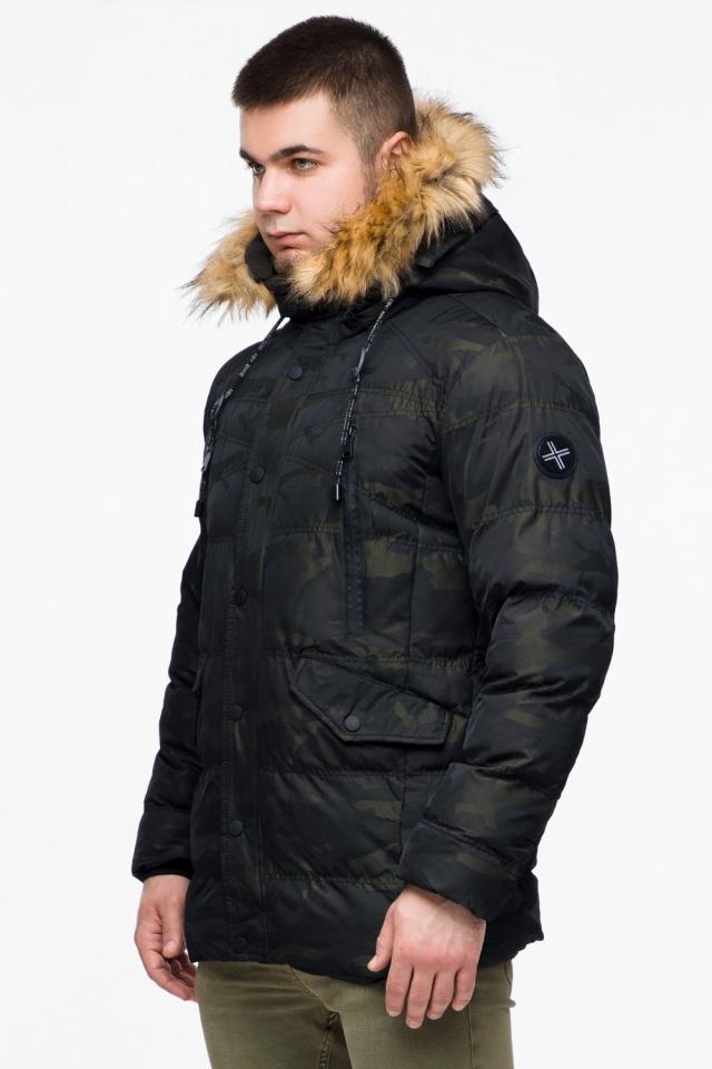 """Зимняя мужская куртка с ветрозащитным клапаном темно-зеленая модель 25450 Braggart """"Youth"""" фото 3"""