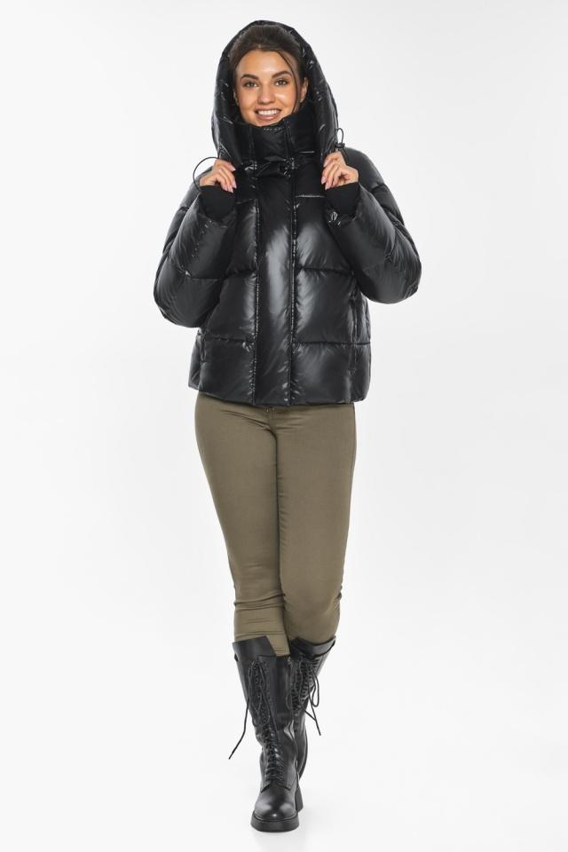 """Черная куртка с высоким воротником женская модель 44210 Braggart """"Angel's Fluff"""" фото 2"""