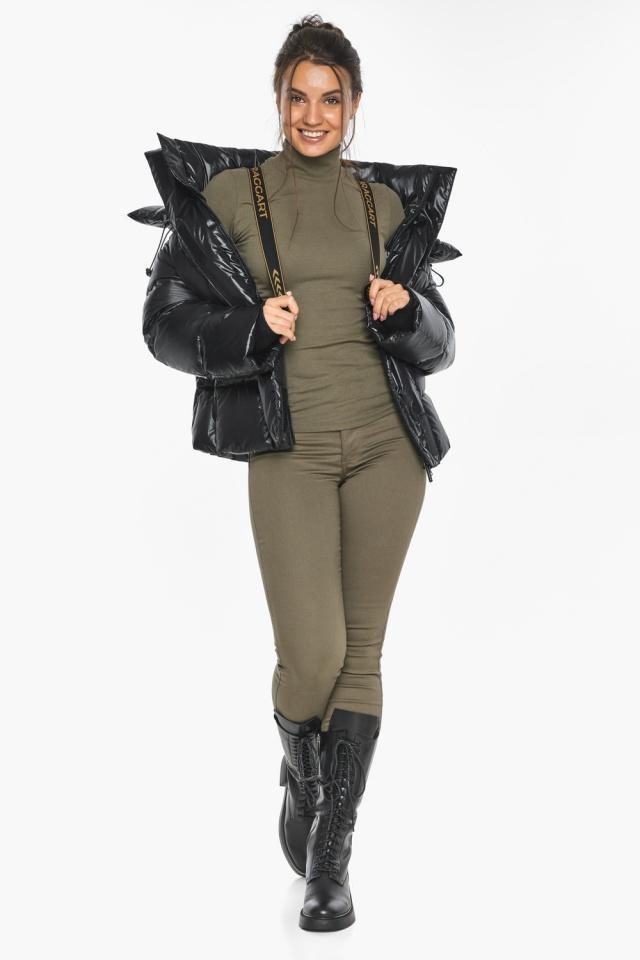 """Черная куртка с высоким воротником женская модель 44210 Braggart """"Angel's Fluff"""" фото 4"""