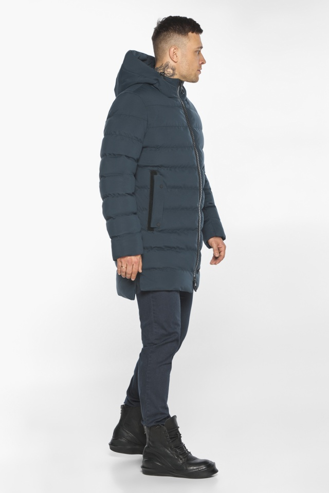 """Мужская брендовая графитово-синяя зимняя куртка модель 49022 Braggart """"Aggressive"""" фото 5"""