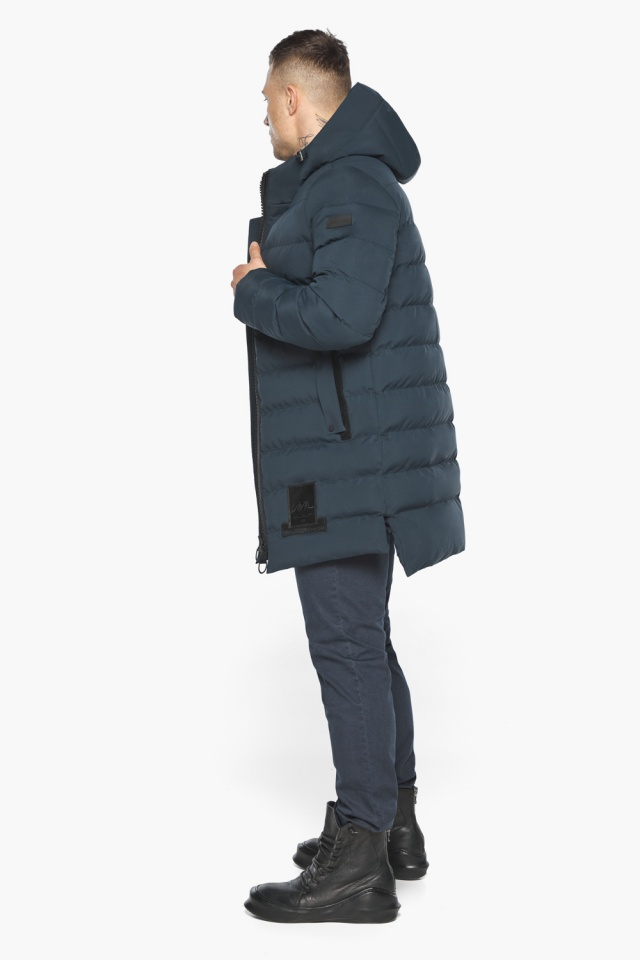 """Мужская брендовая графитово-синяя зимняя куртка модель 49022 Braggart """"Aggressive"""" фото 6"""