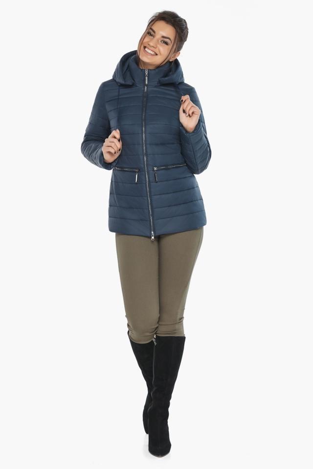 """Синяя стильная куртка осенне-весенняя женская модель 63045 Braggart """"Angel's Fluff"""" фото 4"""