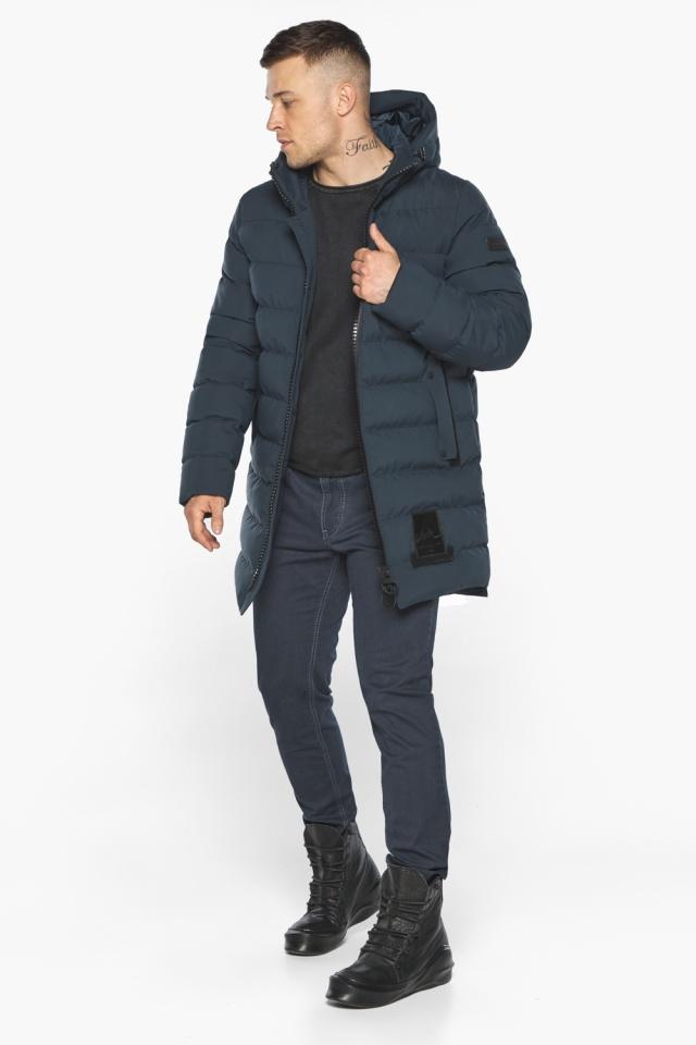 """Мужская брендовая графитово-синяя зимняя куртка модель 49022 Braggart """"Aggressive"""" фото 3"""